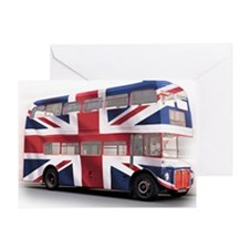 497 London Bus with Union Jack white Greeting Card