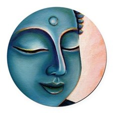 Blue Goddess of Compassion Round Car Magnet