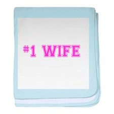 #1 Wife pink baby blanket