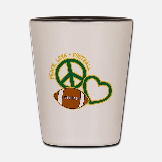 greenyellow, Peace, Love, Football Shot Glass