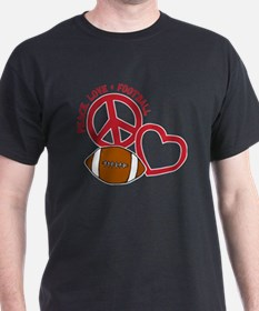 white red, Peace, Love, Football T-Shirt