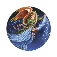 Angel Star Basket_Tile Round Ornament