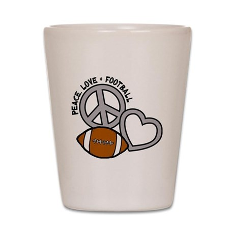 silver black Love, Football Shot Glass