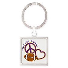 purple yellow, Peace, Love, Footba Square Keychain