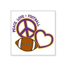 "purple yellow, Peace, Love, Square Sticker 3"" x 3"""
