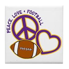 purple yellow, Peace, Love, Football Tile Coaster