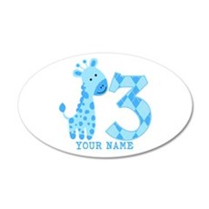 Blue Giraffe 3rd Birthday Personalized Wall Decal