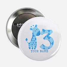 "Blue Giraffe 3rd Birthday Personalized 2.25"" Butto"