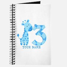 Blue Giraffe 3rd Birthday Personalized Journal