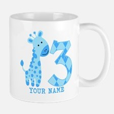 Blue Giraffe 3rd Birthday Personalized Mug
