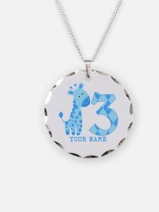 Blue Giraffe 3rd Birthday Personalized Necklace