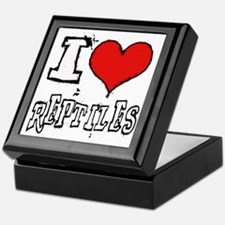 i heart reptiles white lettering Keepsake Box