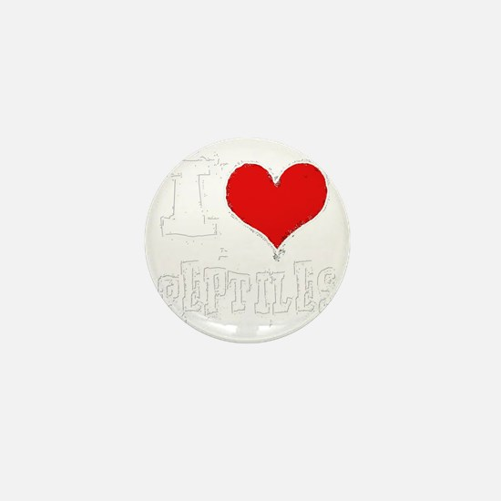 i heart reptiles white outline Mini Button