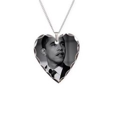 obama Necklace Heart Charm