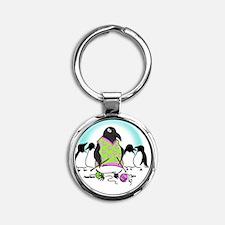 Penguin Postcard 2011 Round Keychain