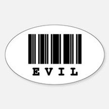 Evil Barcode Design Oval Decal