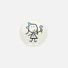 Girl & Lt Blue Ribbon Mini Button (10 pack)