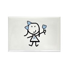 Girl & Lt Blue Ribbon Rectangle Magnet