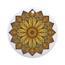 Yellow Brown Yoga Mandala Shirt Round Ornament