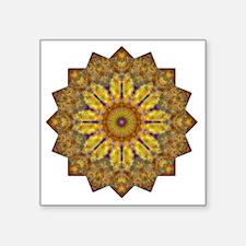 "Yellow Brown Yoga Mandala S Square Sticker 3"" x 3"""