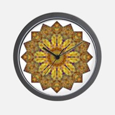 Yellow Brown Yoga Mandala Shirt Wall Clock