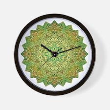 Green Gold Heart Chakra Mandala Yoga Sh Wall Clock