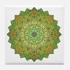 Green Gold Heart Chakra Mandala Yoga  Tile Coaster