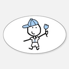 Boy & Lt Blue Ribbon Oval Decal