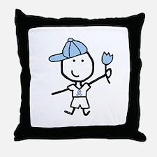 Boy & Lt Blue Ribbon Throw Pillow