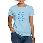 Pregnant w/ Boy due March Women's Light T-Shirt