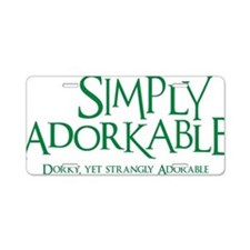 green, Simply Adorkable Aluminum License Plate