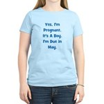 Pregnant w/ Boy due in May Women's Light T-Shirt
