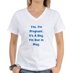 Pregnant w/ Boy due in May Women's V-Neck T-Shirt