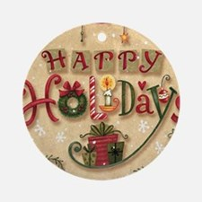 Happy Holidays_Flat Round Ornament