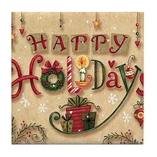 Happy Holidays_Flat Tile Coaster