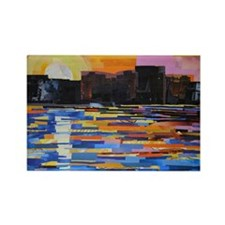 Sunset in the City Rectangle Magnet