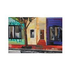 Old Town Townhouses Rectangle Magnet