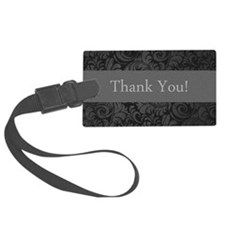 thank you note cards damask text Luggage Tag