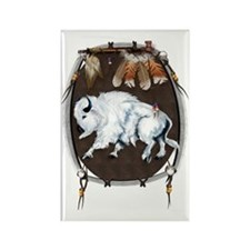 White Buffalo Shield Trans Rectangle Magnet