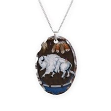White Buffalo Shield -blue P Necklace Oval Charm