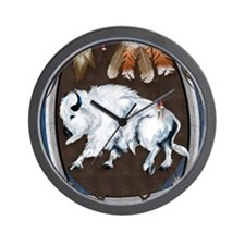 White Buffalo Shield -blue P Wall Clock