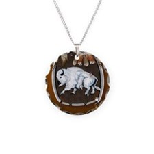 White Buffalo Shield -brown_ Necklace Circle Charm