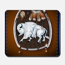 White Buffalo Shield -brown_pillow Mousepad