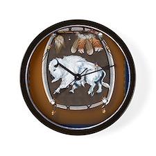 White Buffalo Shield -brown_pillow Wall Clock