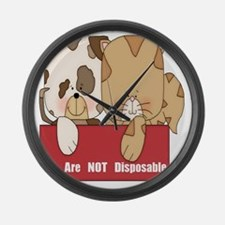 we are not disposable-001 Large Wall Clock