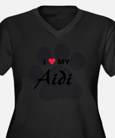 I Love My Ai Women's Plus Size Dark V-Neck T-Shirt
