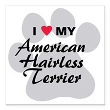 """I Love My American Hairl Square Car Magnet 3"""" x 3"""""""