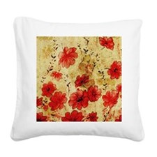 Red Grunge Pillow Square Canvas Pillow