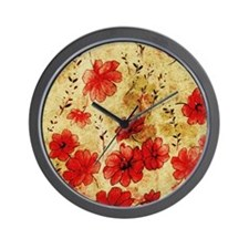 Red Grunge Pillow Wall Clock
