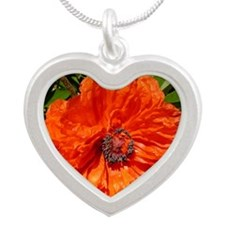 Poppy Silver Heart Necklace